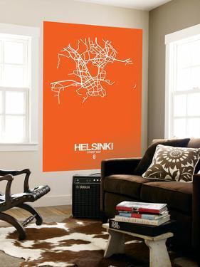 Helsinki Street Map Orange by NaxArt