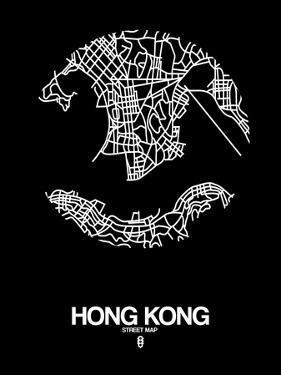 Hong Kong Street Map Black by NaxArt