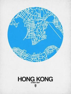 Hong Kong Street Map Blue by NaxArt