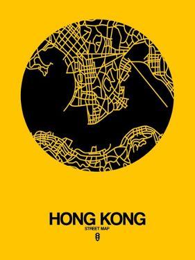 Hong Kong Street Map Yellow by NaxArt