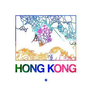 Hong Kong Watercolor Street Map by NaxArt
