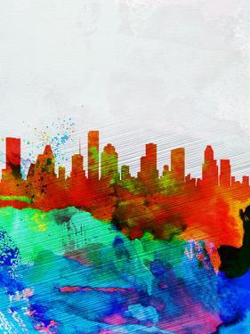 Houston Watercolor Skyline by NaxArt