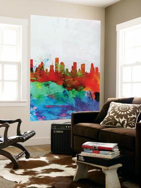 Houston Watercolor Skyline by NaxArt