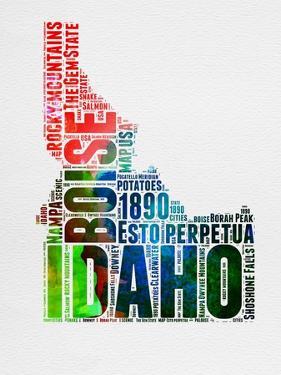 Idaho Watercolor Word Cloud by NaxArt