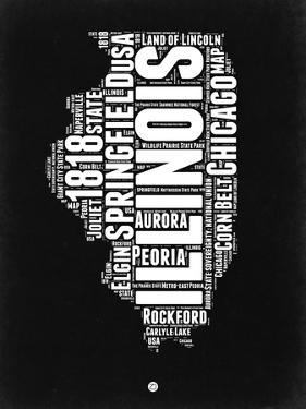 Illinois Black and White Map by NaxArt