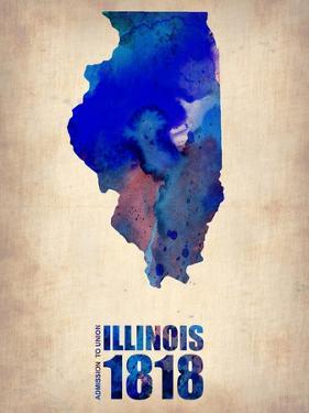 Illinois Watercolor Map by NaxArt