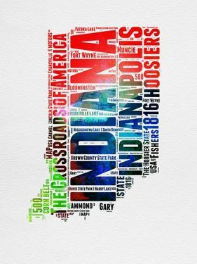 Indiana Watercolor Word Cloud by NaxArt