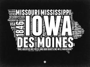 Iowa Black and White Map by NaxArt