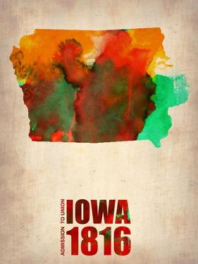 Iowa Watercolor Map by NaxArt