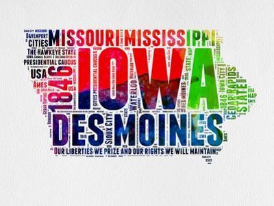 Iowa Watercolor Word Cloud