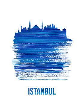 Istanbul Skyline Brush Stroke - Blue by NaxArt