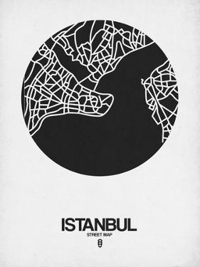 Istanbul Street Map Black on White by NaxArt