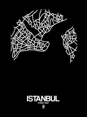Istanbul Street Map Black by NaxArt