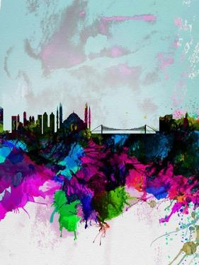 Istanbul Watercolor Skyline by NaxArt