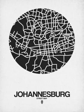 Johannesburg Street Map Black on White by NaxArt