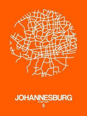 Johannesburg Street Map Orange by NaxArt