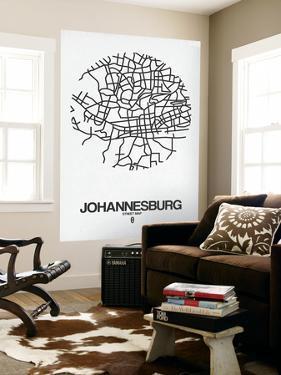 Johannesburg Street Map White by NaxArt
