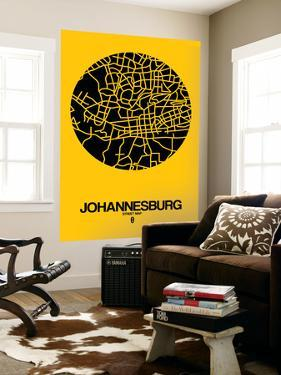 Johannesburg Street Map Yellow by NaxArt