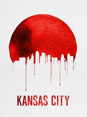 Kansas City Skyline Red by NaxArt