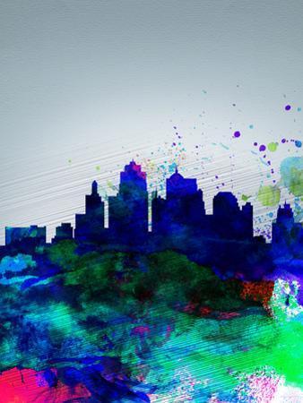 Kansas City Watercolor Skyline by NaxArt