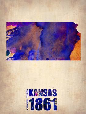 Kansas Watercolor Map by NaxArt