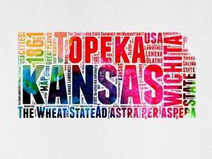 Kansas Watercolor Word Cloud by NaxArt