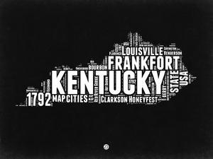 Kentucky Black and White Map by NaxArt