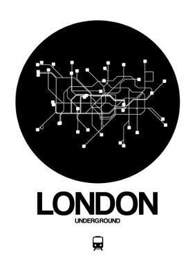 London Black Subway Map by NaxArt