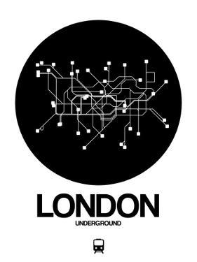 London Black Subway Map by NaxArt