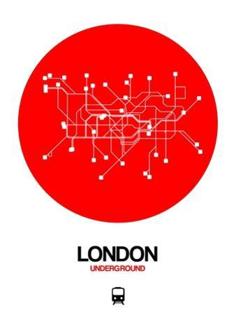 London Red Subway Map by NaxArt
