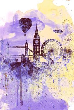 London Watercolor Skyline by NaxArt