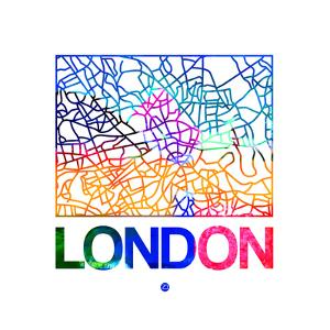 London Watercolor Street Map by NaxArt