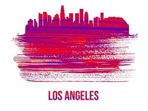 Los Angeles Skyline Brush Stroke - Red by NaxArt