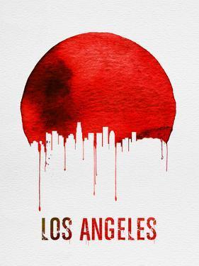 Los Angeles Skyline Red by NaxArt