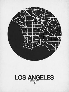 Los Angeles Street Map Black on White by NaxArt