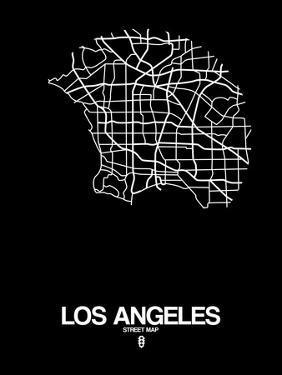 Los Angeles Street Map Black by NaxArt