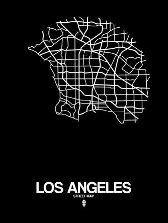 Los Angeles Street Map Black by NaxArt