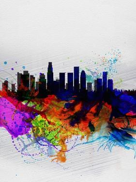 Los Angeles Watercolor Skyline 2 by NaxArt