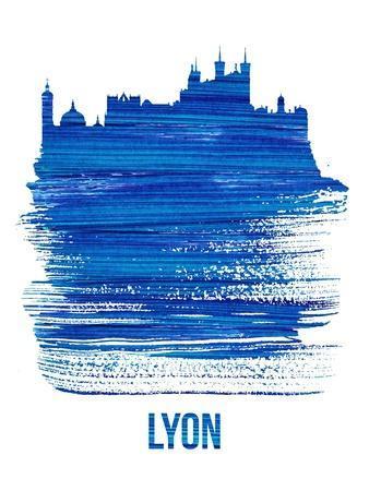 Lyon Skyline Brush Stroke - Blue