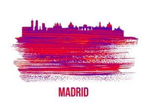 Madrid Skyline Brush Stroke - Red by NaxArt