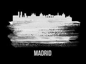Madrid Skyline Brush Stroke - White by NaxArt