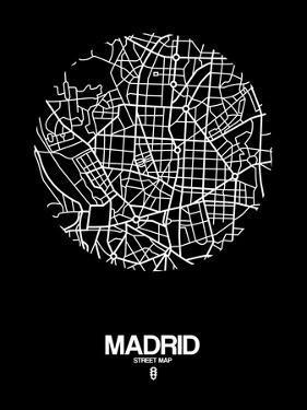 Madrid Street Map Black by NaxArt