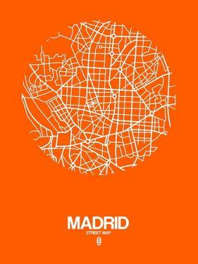 Madrid Street Map Orange by NaxArt