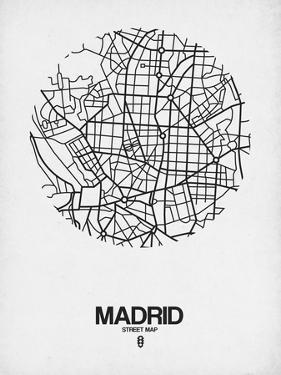 Madrid Street Map White by NaxArt