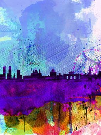 Madrid Watercolor Skyline by NaxArt