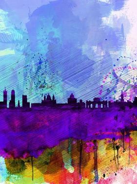 Madrid Watercolor Skyline by NaxArt
