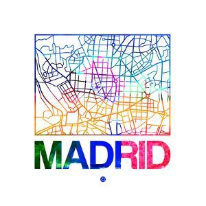 Madrid Watercolor Street Map by NaxArt