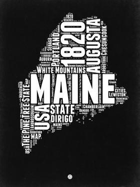 Maine Black and White Map by NaxArt