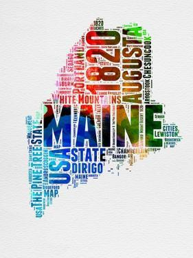 Maine Watercolor Word Cloud by NaxArt
