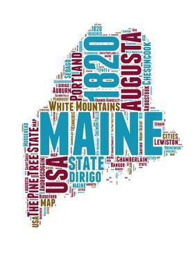 Maine Word Cloud Map by NaxArt